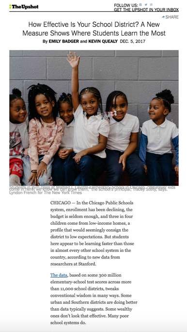 Screenshot of NYT schools project online.