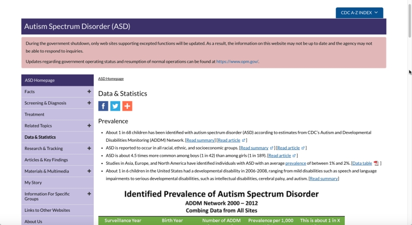 Screenshot of CDB autism disorder data page.