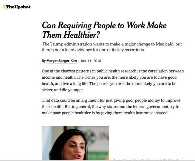 Screenshot of NYT story on work and health.